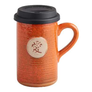 Orange Love Ceramic To Go Mug with Lid