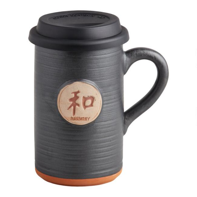 Black Harmony Ceramic To Go Mug with Lid
