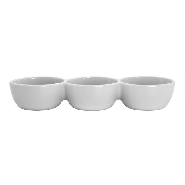 White Porcelain Coupe Connected Dipping Bowls