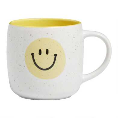 White and Yellow Speckled Smiley Face Mug