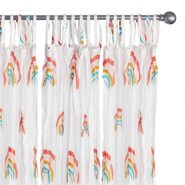 Rainbow Print Cotton Crinkle Voile Tie Top Curtains Set of 2