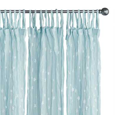 Blue Stars Cotton Crinkle Voile Tie Top Curtains Set of 2