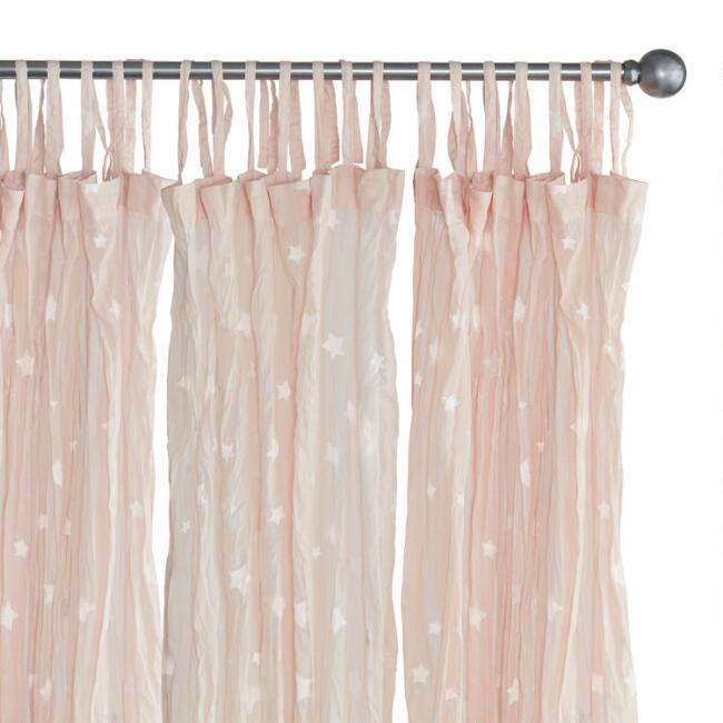 Pink Stars Cotton Crinkle Voile Tie Top Curtains Set of 2