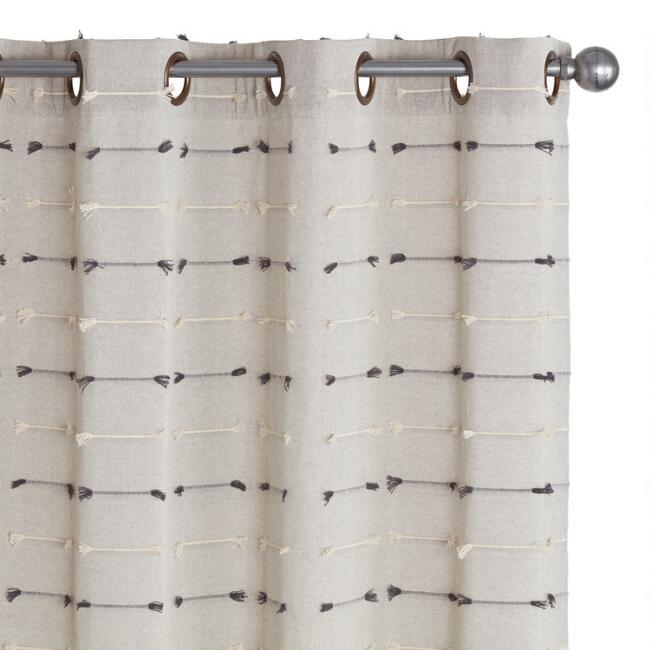 Gray Embroidered Cotton Grommet Top Curtains Set of 2