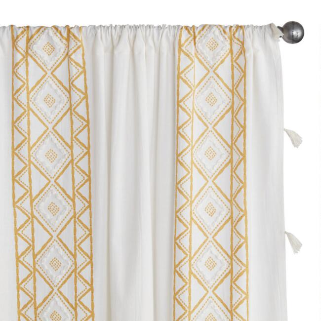 White And Yellow Geo Cotton Sleeve Top Curtains Set of 2