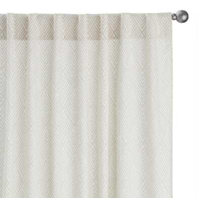 White And Tan Diamond Cotton Sleeve Top Curtains Set of 2