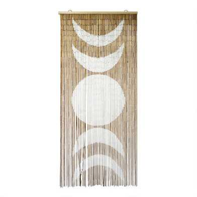 White And Natural Moon Phase Bamboo Beaded Curtain