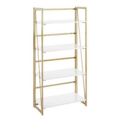 Gold Metal and White Wood Isla Bookshelf