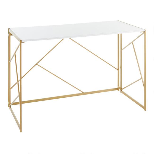 Gold Metal and White Wood Isla Desk