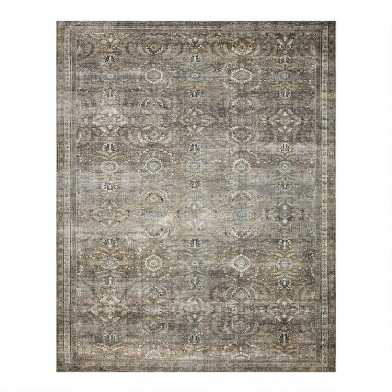Moss Green Distressed Persian Style Layla Area Rug