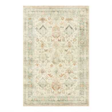 Light Green Distressed Gabbeh Style Kai Area Rug
