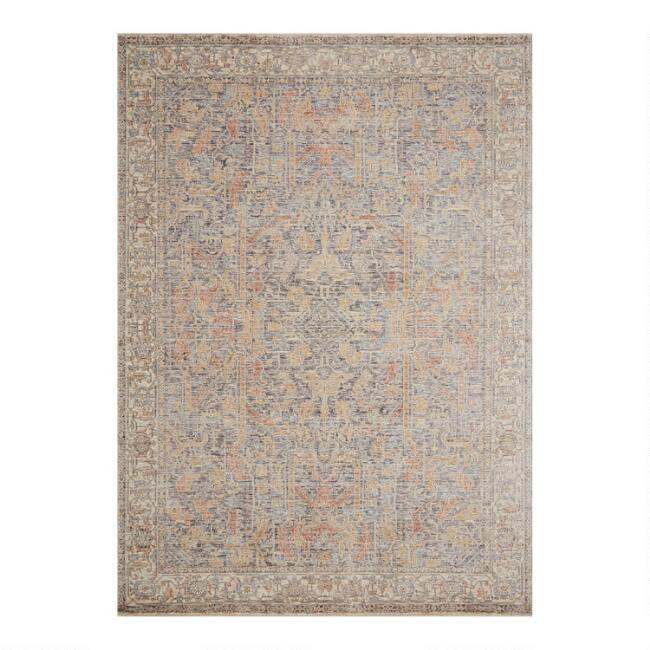 Blue and Rust Distressed Persian Style Shea Area Rug