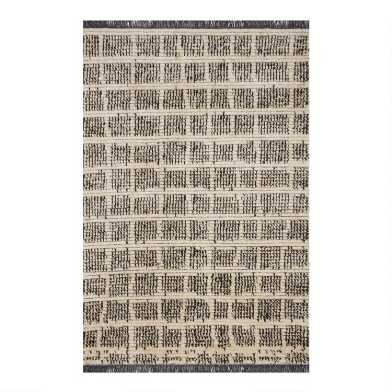 Black and Natural Grid Axel Area Rug