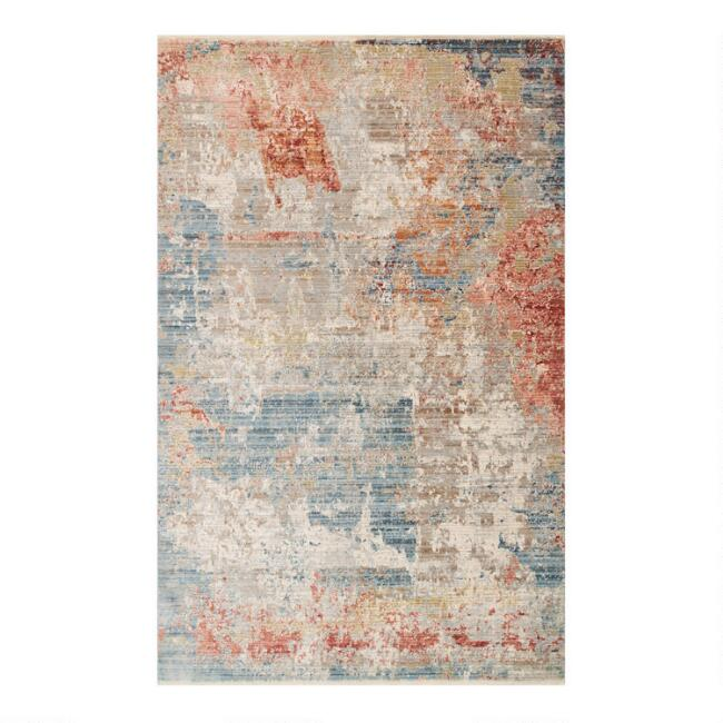 Blue and Orange Abstract Remy Area Rug