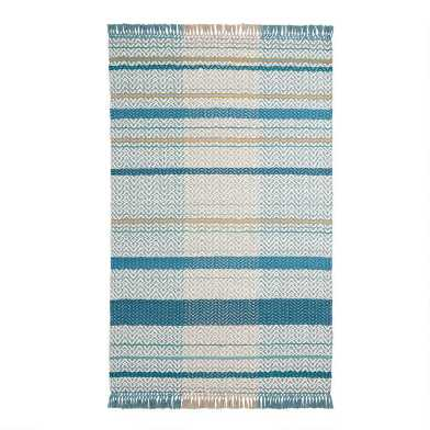 Blue and White Zigzag Stripe Woven Area Rug