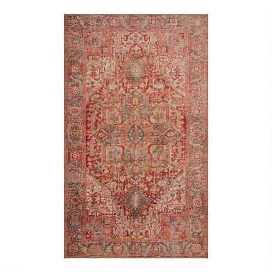 Coral Persian Style Izmir Area Rug with Backing