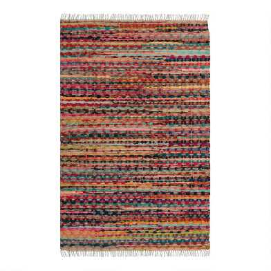 Bright Multicolor Stripe Chindi Area Rug