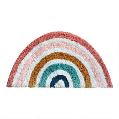 Half Circle Multicolor Rainbow Shag Area Rug