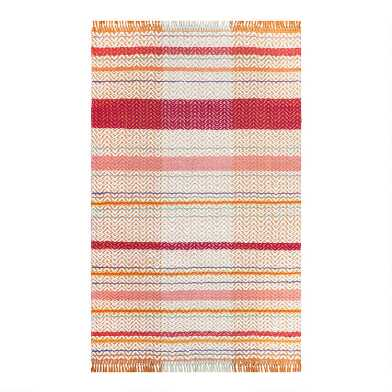 Pink and White Zigzag Stripe Woven Area Rug