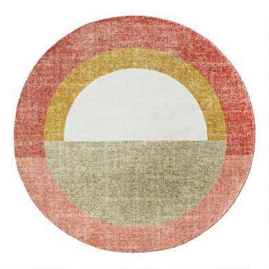 Round Blush and Gray Geometric Half Circles Area Rug