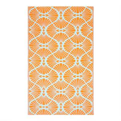 Coral Geo Promenade Reversible Indoor Outdoor Rio Floor Mat