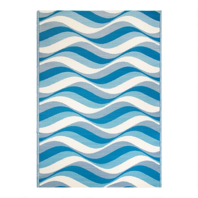 Blue Geo Wave Reversible Indoor Outdoor Rio Floor Mat
