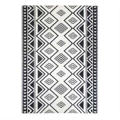 Black Moroccan Style Reversible Indoor Outdoor Rio Floor Mat