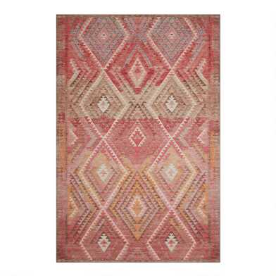 Warm Multicolor Diamond Kilim Indoor Outdoor Area Rug