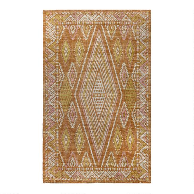 Orange and Ivory Moroccan Style Indoor Outdoor Rug