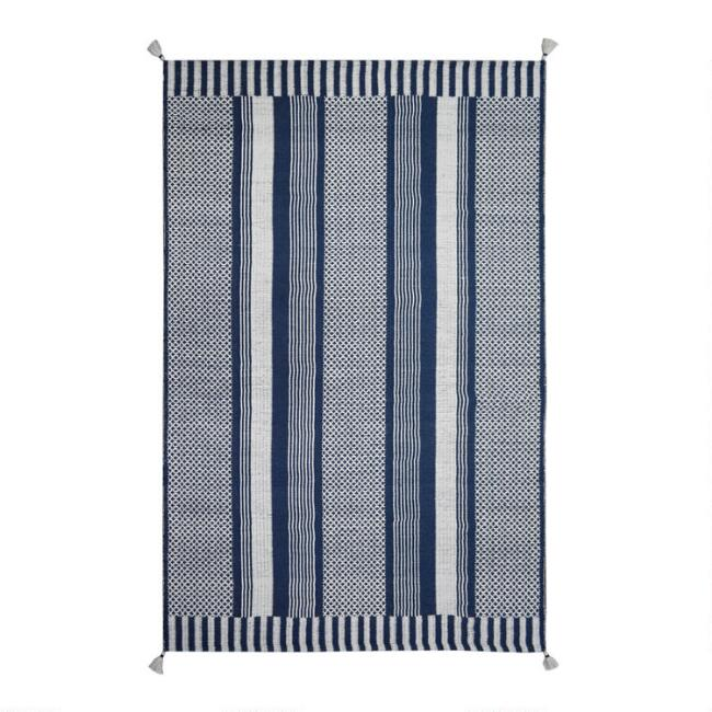 Navy and White Stripe Riviera Indoor Outdoor Rug