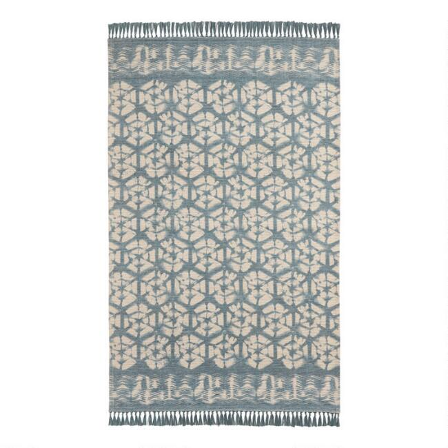 Teal and Ivory Shibori Indoor Outdoor Rug