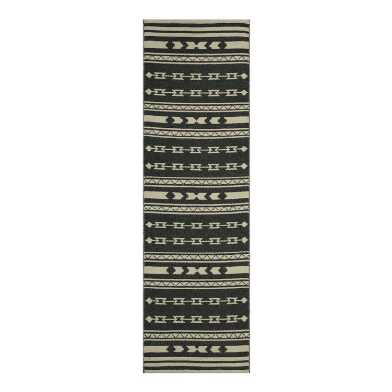 Black and Ivory Reversible Noah Indoor Outdoor Floor Runner