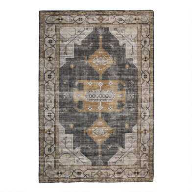 Gray and Beige Distressed Persian Style Olivia Area Rug