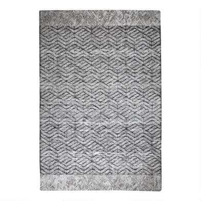 Gray Zigzag Tufted Wool Oliver Area Rug