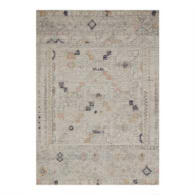 Ivory Moroccan Style Adalyn Area Rug with Backing