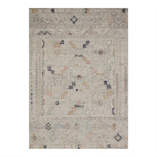 Ivory Moroccan Style Wool Adalyn Area Rug with Backing