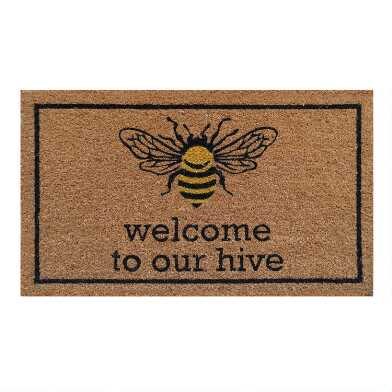 Welcome To Our Hive Yellow Bee Coir Doormat