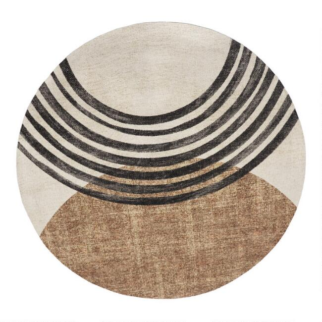 Round Black And Brown Modern Area Rug, Small Round Entryway Rugs
