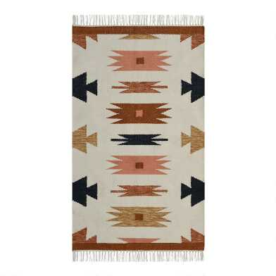 Warm Multicolor Persian Style Woven Dhurrie Area Rug