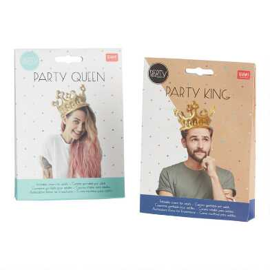 Gold Inflatable Adult Crown Set Of 2