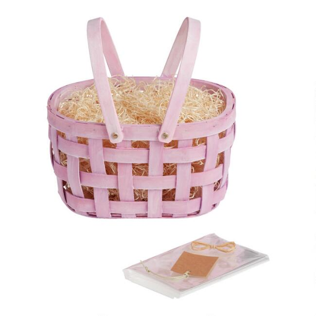 Purple Double Handle Woven Easter Gift Basket Kit