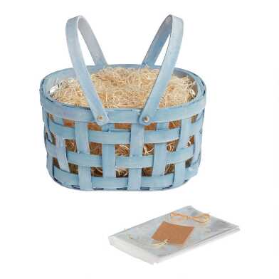 Blue Double Handle Woven Easter Gift Basket Kit