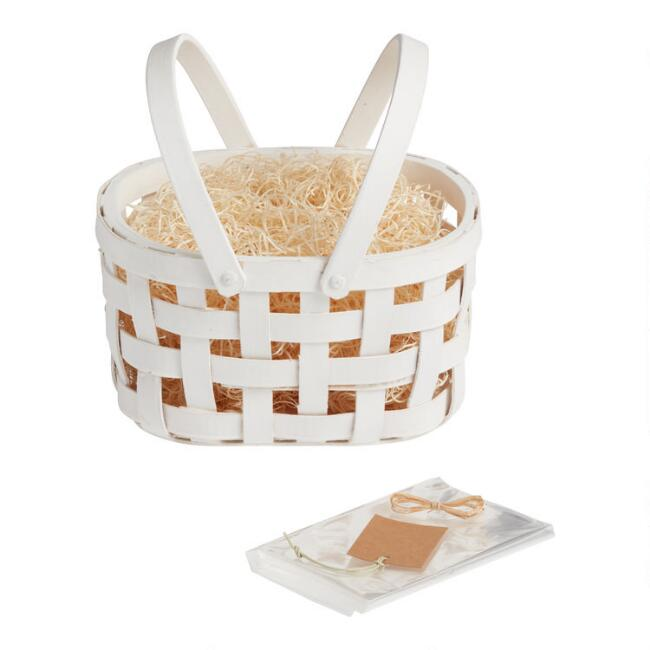 White Double Handle Woven Easter Gift Basket Kit