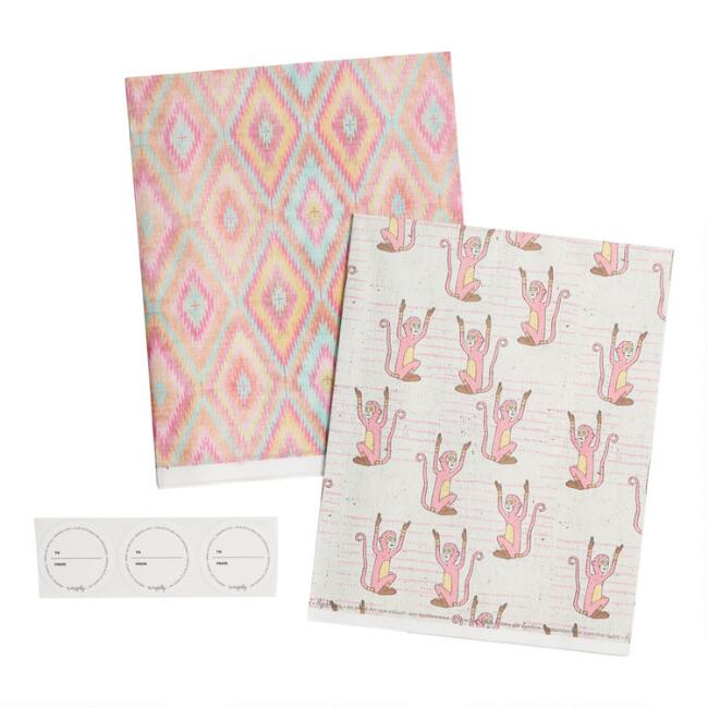 Wrappily Pink Monkey and Ikat Reversible Recycled Gift Wrap
