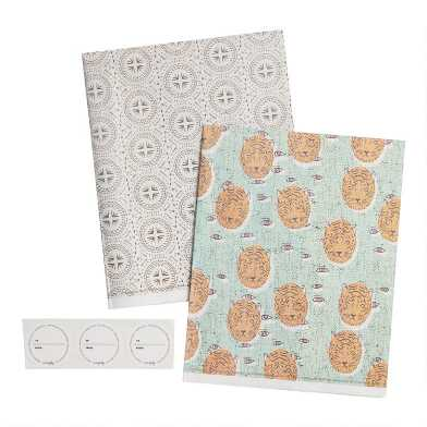 Wrappily Tiger and Medallion Reversible Recycled Gift Wrap