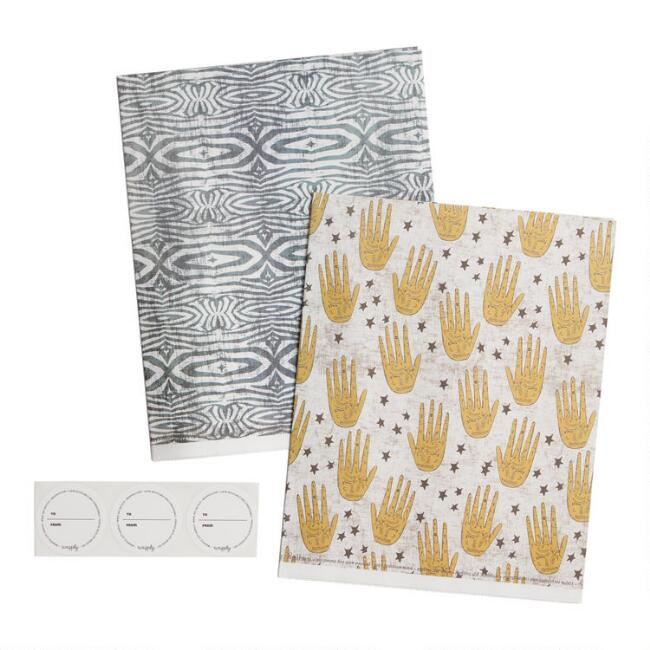 Wrappily Palmistry and Zebra Reversible Recycled Gift Wrap