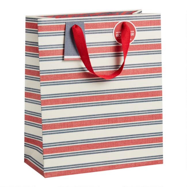 Large Ivory, Red and Navy Stripe Gift Bag