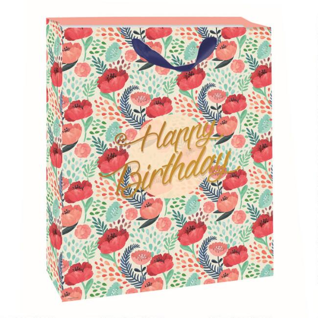 Large Floral Happy Birthday Gift Bag