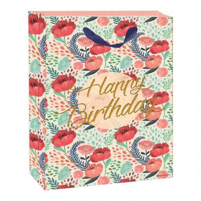 Small Floral Happy Birthday Gift Bag Set of 2
