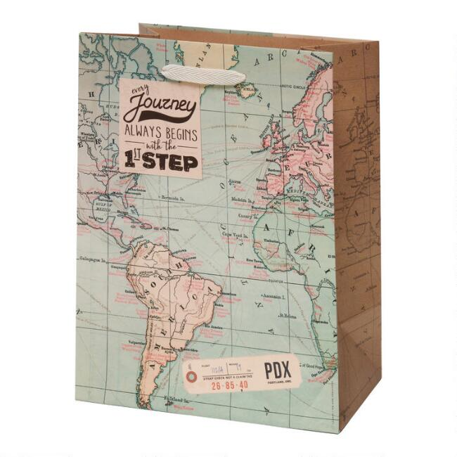 Medium World Map Gift Bag Set Of 2